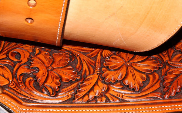 "1867 New Handmade Award Winning Terry Henson Floral Carved 15"" Wade Saddle"