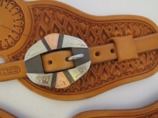 10039 New Handmade TY BARTON Pass Through Spur Straps DON ROGERS Buckles
