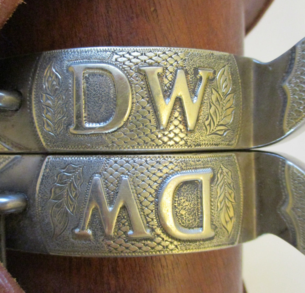 10479 Handmade RF Ford Double Mounted Ladies Spurs with Liz Ford Spur Straps