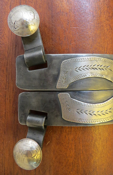 10015 New Handmade STEVE BARNARD Double Mounted Gooseneck Spurs