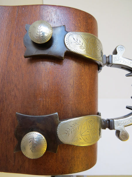 10005 Early Pair of Handmade Spurs Built By RON BLISS Numbered 004