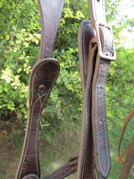 10333 Vtg Handmade Shaped Ear Headstall with Browband and Noseband Crockett Bit Bridle