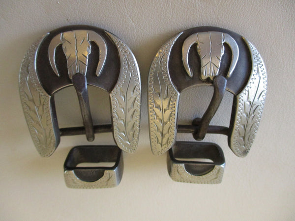 "10497 Pair New Handmade DAVID HUNT ⅝"" Spur Strap Buckles Bull Skulls"