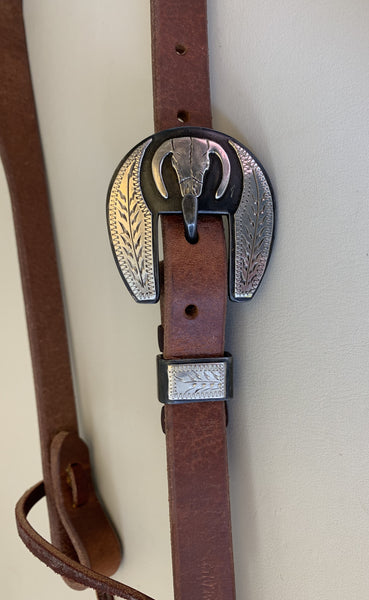 "10674 New Handmade GRUMPY OLD COWBOY ¾"" Heavy Harness Headstall DAVID HUNT Buckle"