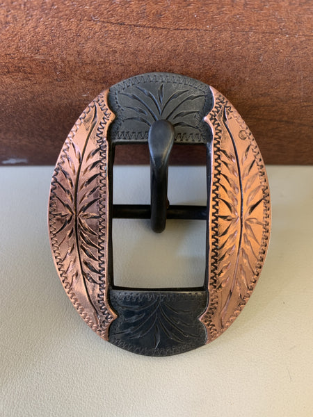 "10678 New Handmade DAVID HUNT ¾"" Copper Mounted Headstall or Chap Belt Buckle"