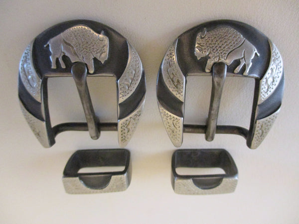 "10512 Pair New Handmade DAVID HUNT ¾"" Spur Strap Buckles Buffalos"