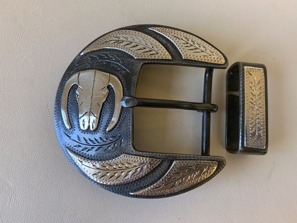 "10688 New Handmade DAVID HUNT Bull Skull 1 ½"" Belt Buckle"