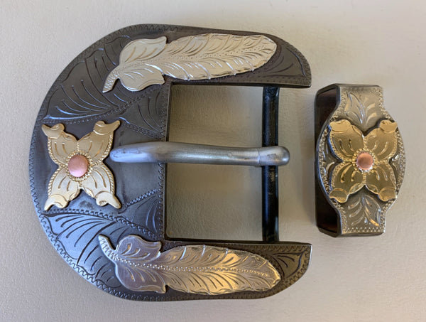 "10710 New Handmade DON ROGERS Two Piece 1 ½"" Belt Buckle Set"