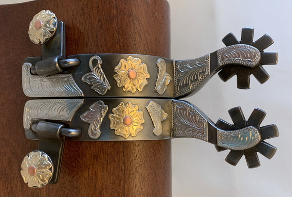 10742 New Handmade DON ROGERS Double Mounted Spurs