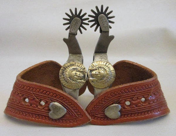 10595 New Handmade Don Pierce Miniature Double Mounted Spurs with Casey Jordan Straps