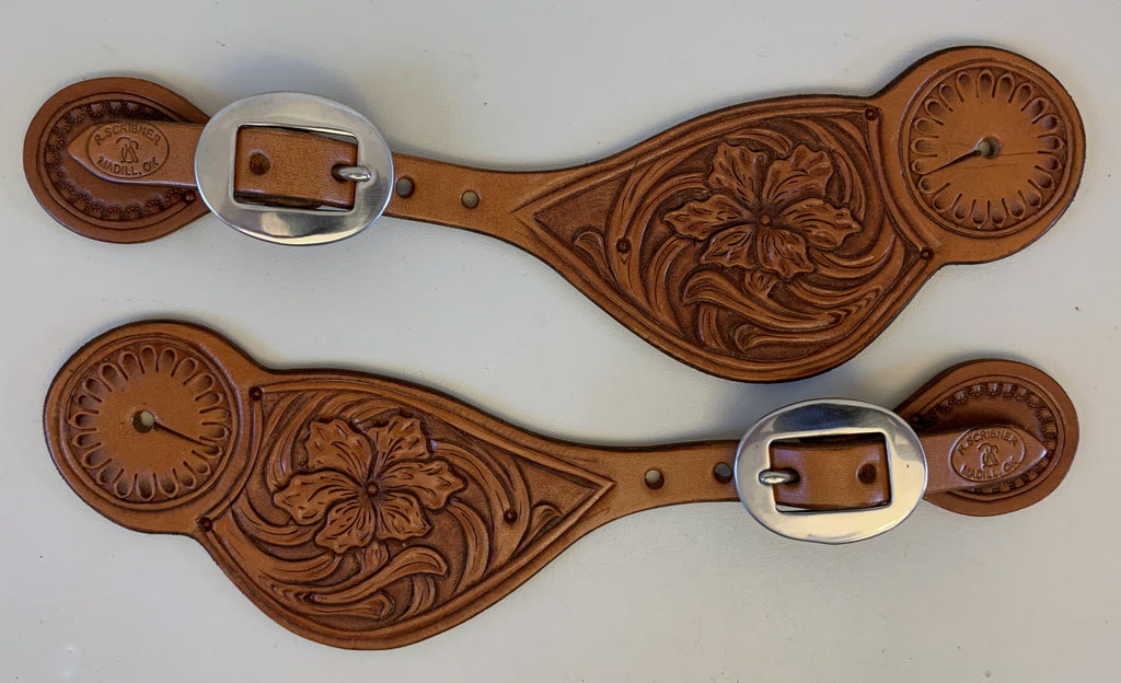 10784 New Handmade RACHEL SCRIBNER Tear Drop Floral Carved Spur Straps