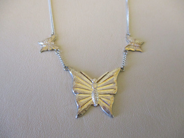10631 Vintage New Old Stock Fleming Sterling Silver Butterfly Necklace