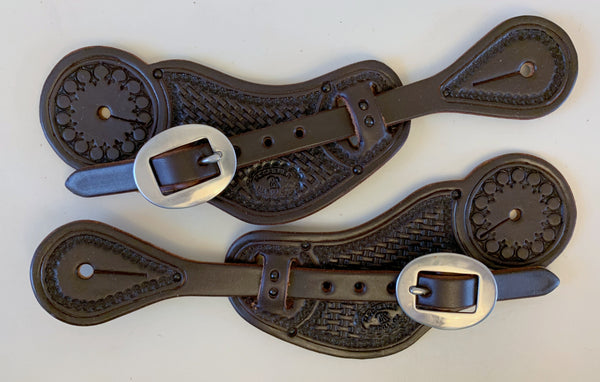 10789 New Handmade RACHEL SCRIBNER Dark Oil Pass Through Stamped Spur Straps