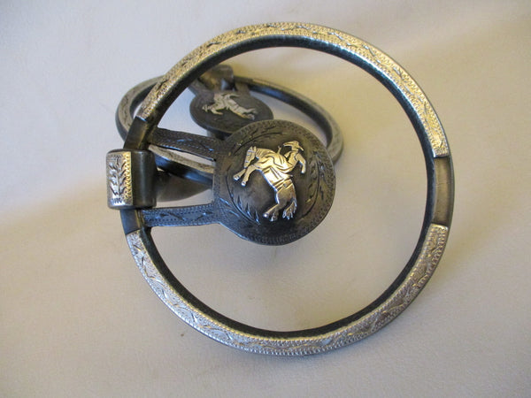 10643 New Handmade DAVID HUNT O Ring Snaffle Bit Mounted with Bronc Rider