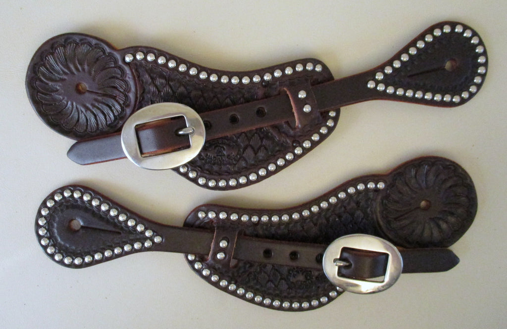 10655 New Handmade RACHEL SCRIBNER Dark Oil Pass Through Spur Straps with Spots