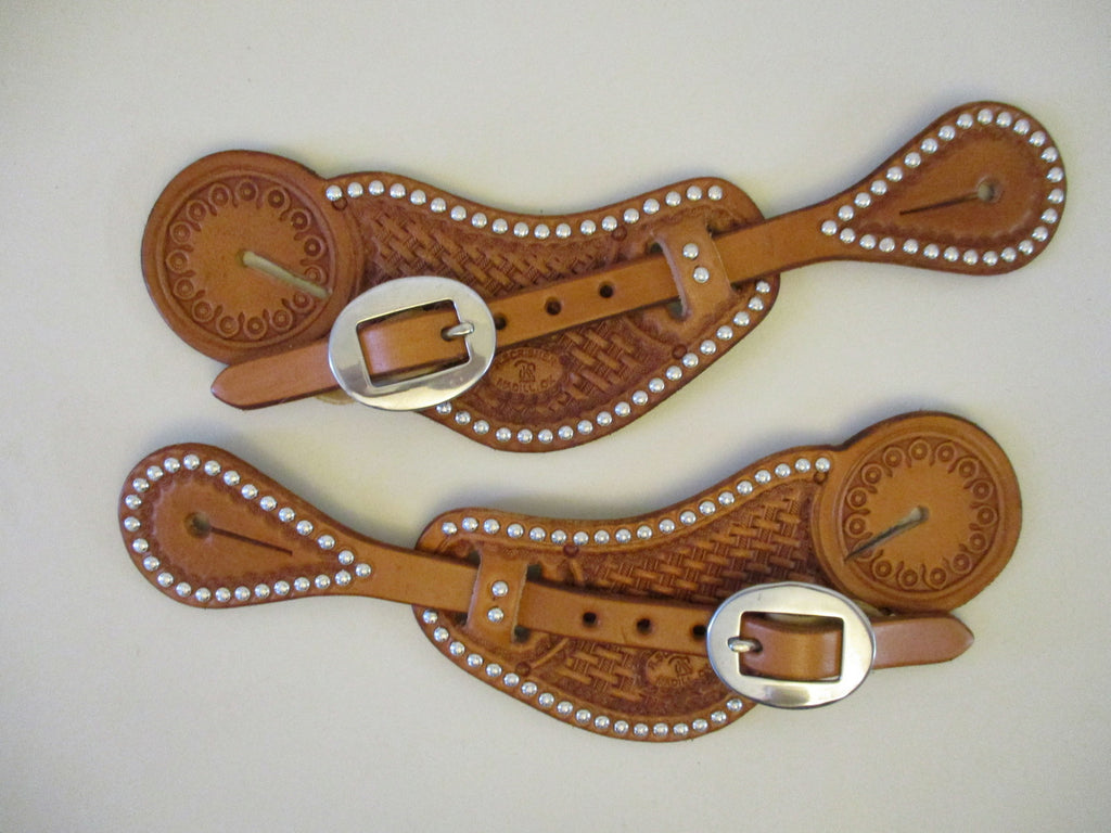 10645 New Handmade RACHEL SCRIBNER Pass Through Spur Straps with Spots