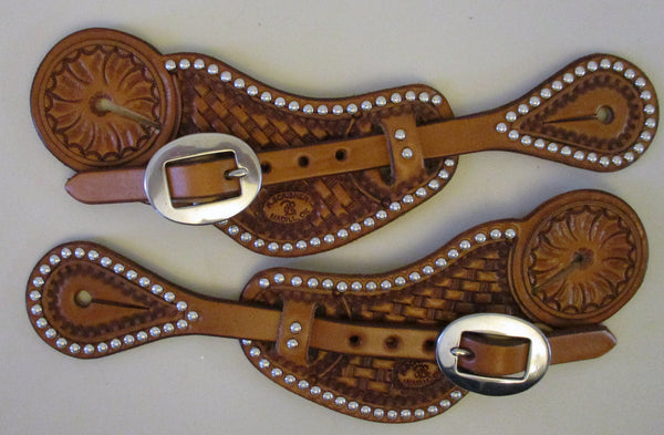 10647 New Handmade RACHEL SCRIBNER Pass Through Spur Straps with Spots