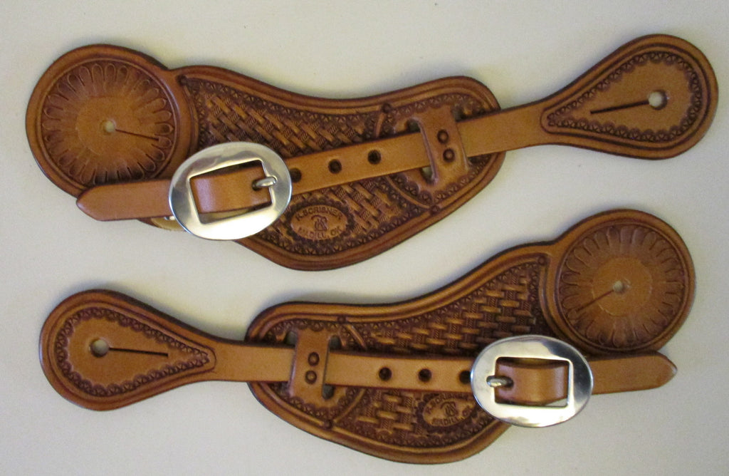 10662 New Handmade RACHEL SCRIBNER Pass Through Stamped Spur Straps
