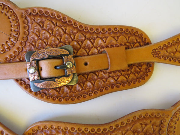 9998 New Handmade TY BARTON Visalia Style Pass Through Spur Straps DAVID HUNT Buckles