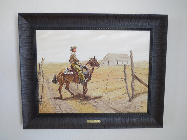 "10030 KENNETH WYATT Framed Original Oil on Canvas ""Bobbed Wire Gate"" 24"" x 18"""