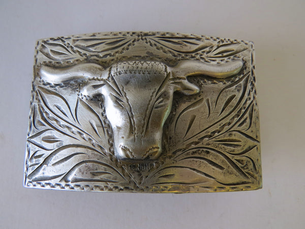 10041 Vintage Sterling Silver Overlay Bull Head Belt Buckle