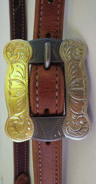 "10053 New Handmade RON CARLTON Lined Stitched ¾"" Headstall DON ROGERS Buckle"