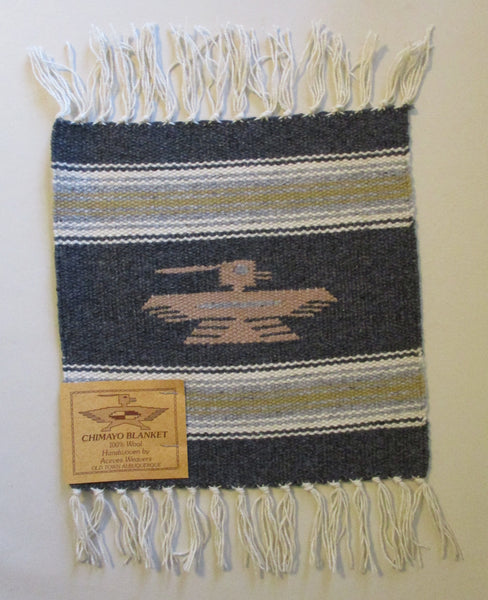 "10906 New Old Stock Aceves Weavers Thunderbird Chimayo Wool Blanket Placemat 10"" X 10"""