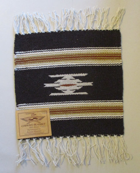 "10907 New Old Stock Aceves Weavers Chimayo Southwest Design Wool Blanket Placemat 10"" X 10"""