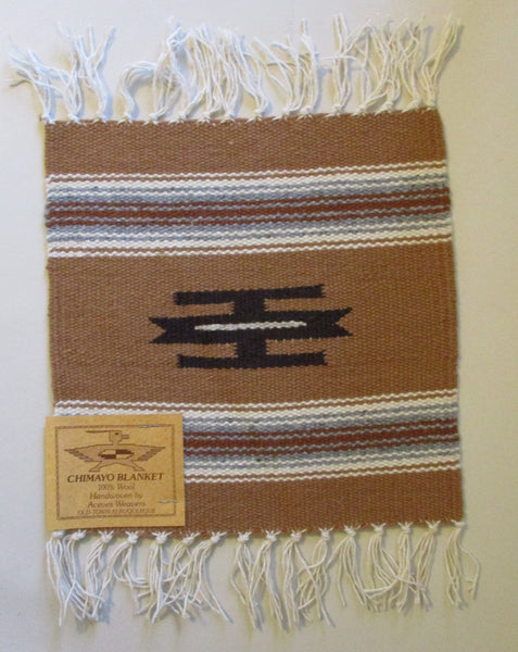 "10908 New Old Stock Aceves Weavers Chimayo Southwest Design Wool Blanket Placemat 10"" X 10"""