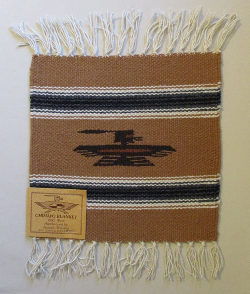 "10916 New Old Stock Aceves Weavers Chimayo Thunderbird Wool Blanket Placemat 10"" X 10"""