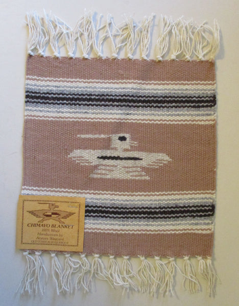 "10917 New Old Stock Aceves Weavers Chimayo Thunderbird Wool Blanket Placemat 10"" X 10"""