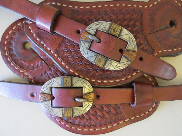9311 Handmade BILL ADAMSON Buckles Pass Through Style Spur Straps