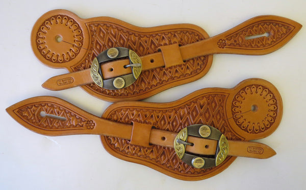 10068 New Handmade TY BARTON Visalia Style Pass Through Spur Straps DALE BASS Buckles