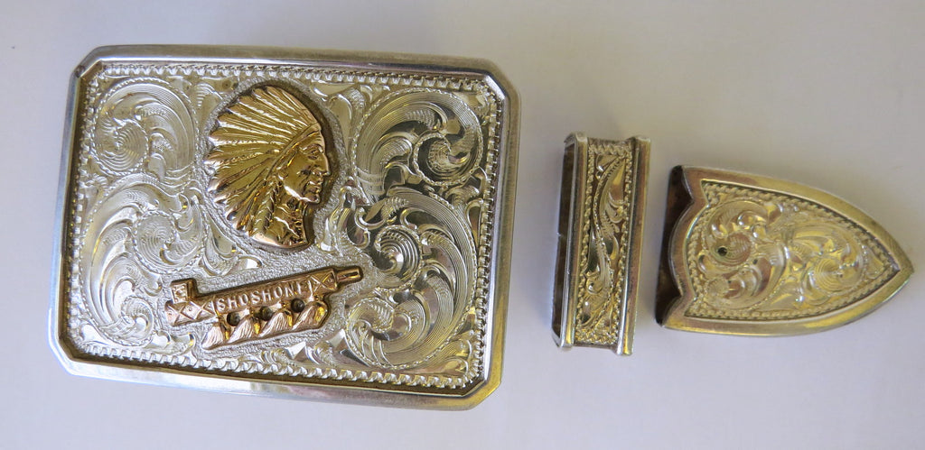 10094 New DIABLO Sterling Silver 12K GF Three Piece Belt Buckle Set
