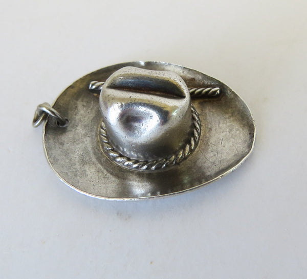 10099 Rare CHARLIE SAMPLE HOLLYWOOD CA Sterling Silver Cowboy Hat Pendant or Charm