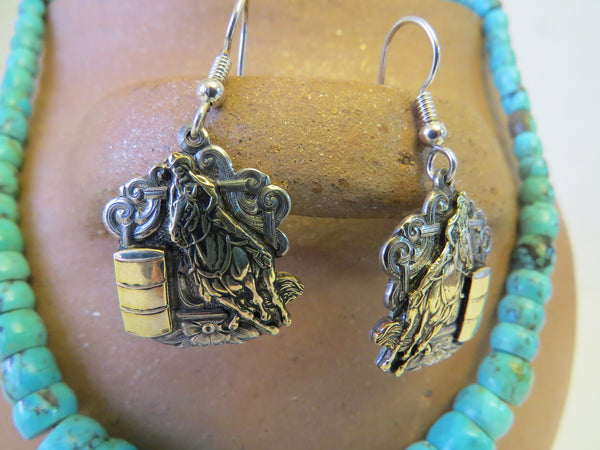 10112 New GIST SILVERSMITHS Sterling Silver 14K GF Barrel Racer French Wire Earrings