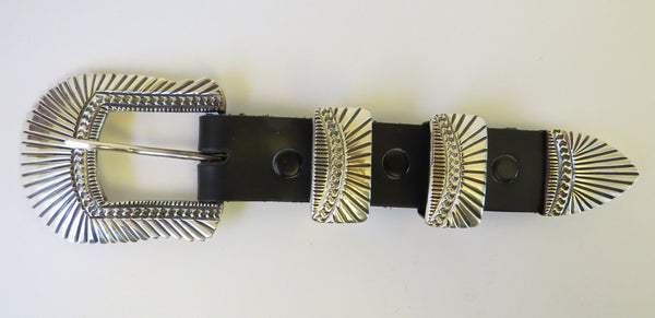 10156 New Handmade Navajo June Defauito Solid Sterling Silver Four Piece Belt Buckle Set