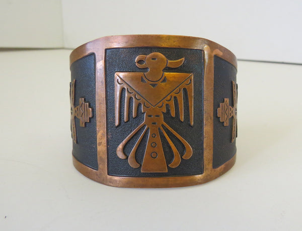 10168 Vintage Bell Trading Post Wide Copper Thunderbird Bracelet