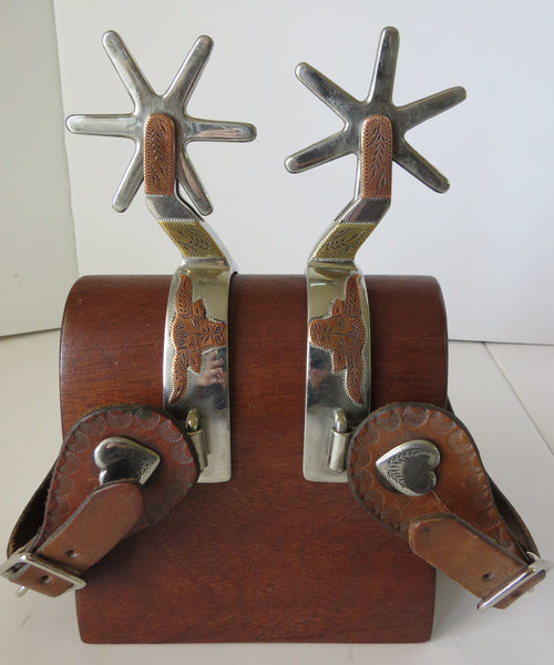 10176 Stainless Spurs Mounted by JD MOSS with Spur Straps