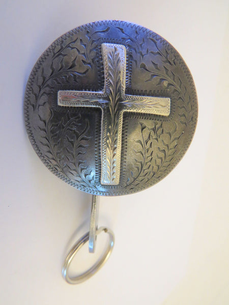 10199 Used Handmade STEPHEN WHITE Key Fob Cross