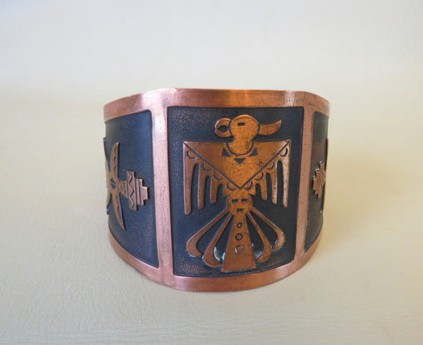 10233 Vintage Bell Trading Post Wide Copper Thunderbird Bracelet
