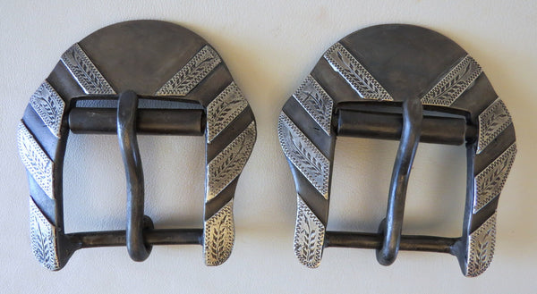 10261 Handmade LARRY TURNER Roller Flank Cinch Buckles