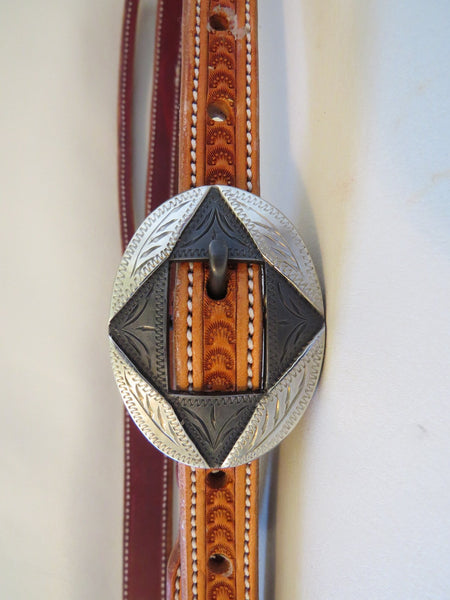 "8872 New Handmade BRANDON HOUSE ¾"" Split Ear Stamped Headstall DAVID HUNT Buckle"