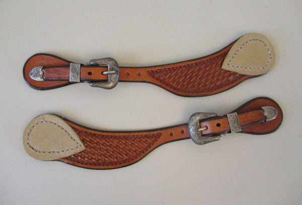 10359 Used Dennis Moreland Spur Straps with Sterling Overlay Buckles