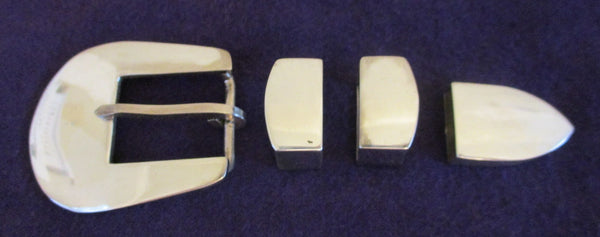 10395 New Maker Marked Solid Sterling Silver Four Piece Belt Buckle Set