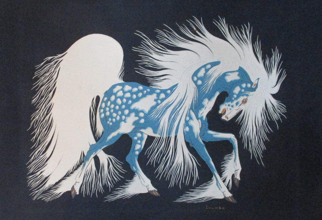 10447 Native American Woody Crumbo Blue Spirit Horse Silk Screen Print Must Fish Western Tackle