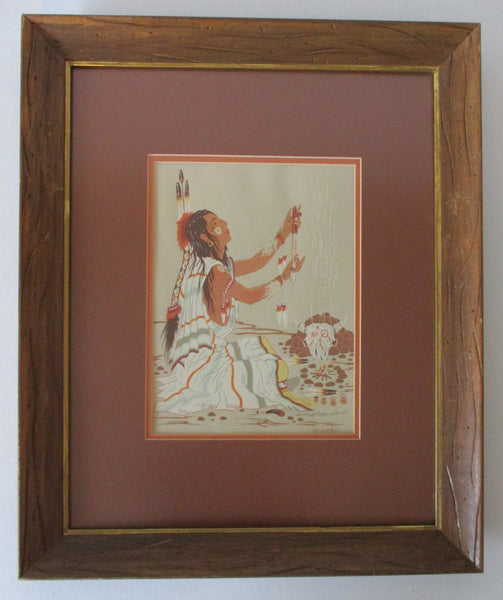 10450 Native American Woody Crumbo Peace Pipe Prayer Silk Screen Print Framed Under Glass