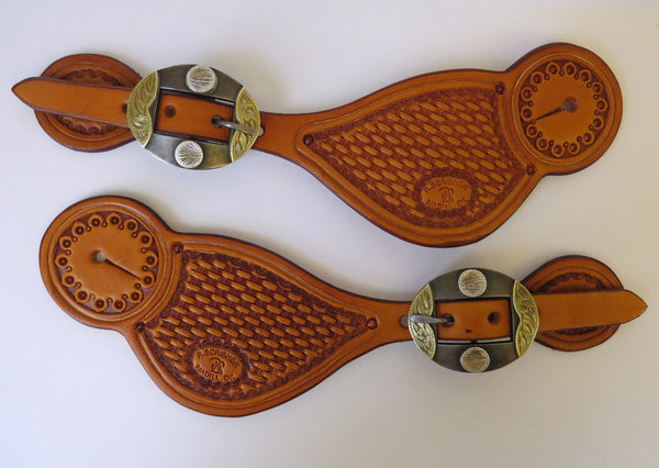 9784 New Handmade RACHEL SCRIBNER Tear Drop Stamped Spur Straps DALE BASS Buckles
