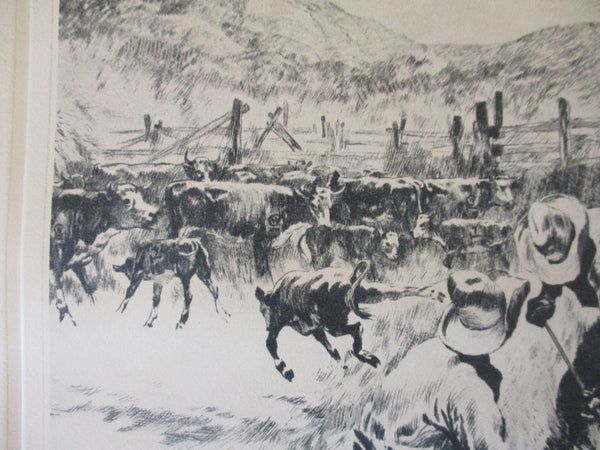 "10574 RH Palenske Etching titled ""Branding Time"""
