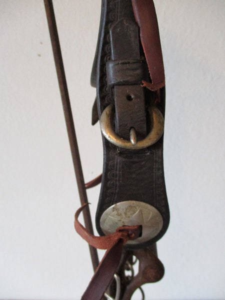 10348 Vintage Stamped Browband Bridle Tex-Tan Headstall and Old Bit